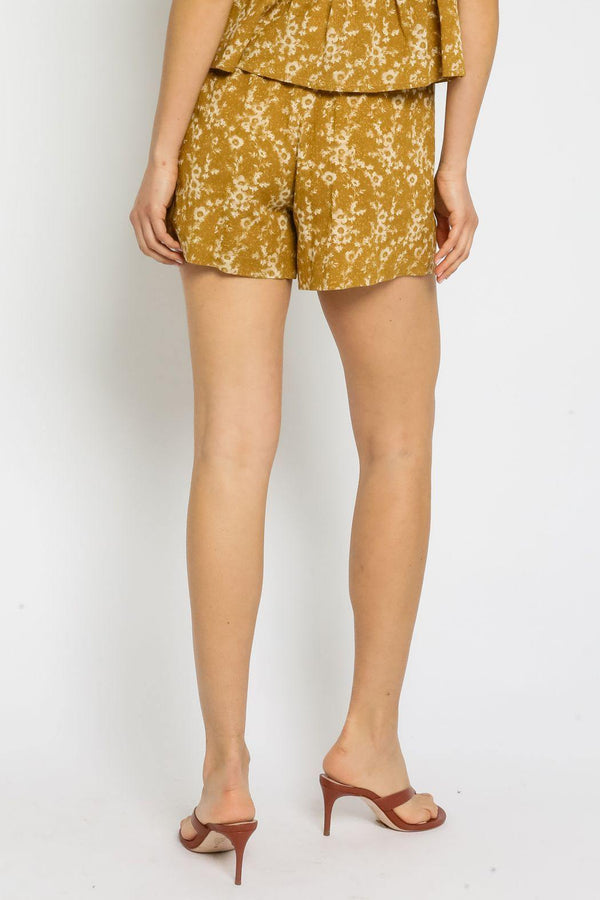 Mustard Floral Shorts - Traveling Chic Boutique, VA