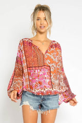 Printed Blouse - Traveling Chic Boutique, VA