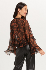 Brown Floral Ruffled Blouse