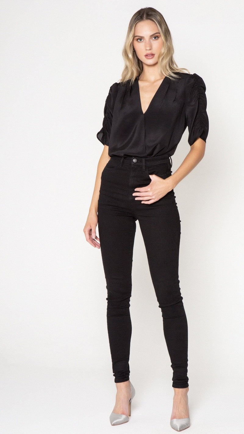 Black Puff Sleeve Bodysuit - Traveling Chic Boutique, VA