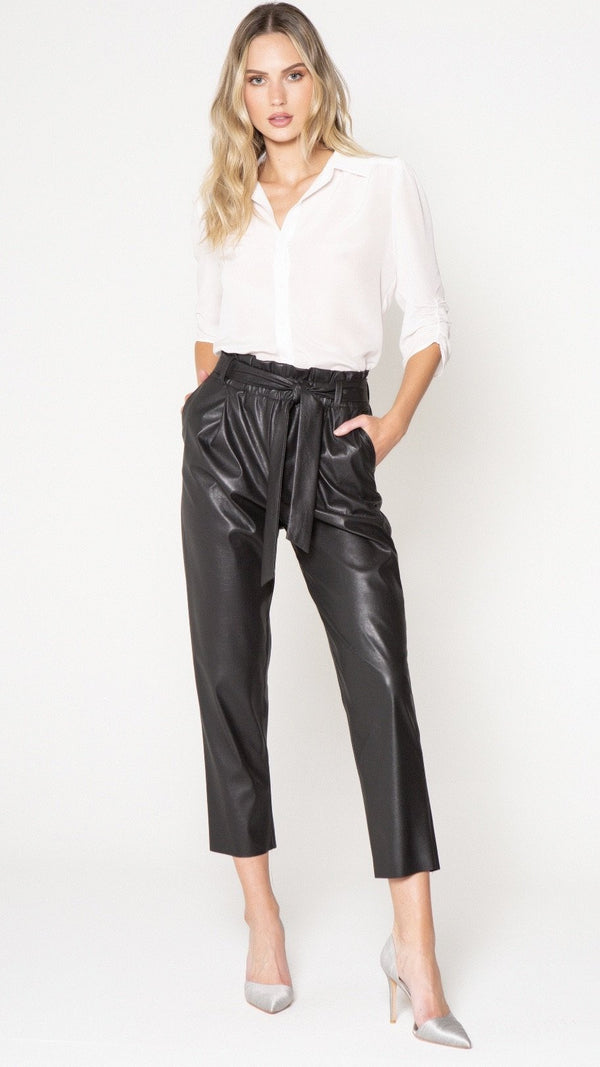 Vegan Leather Paper Bag Pants - Traveling Chic Boutique, VA