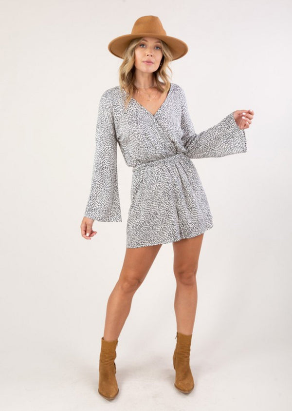 Printed Bell Sleeve Romper - Traveling Chic Boutique, VA