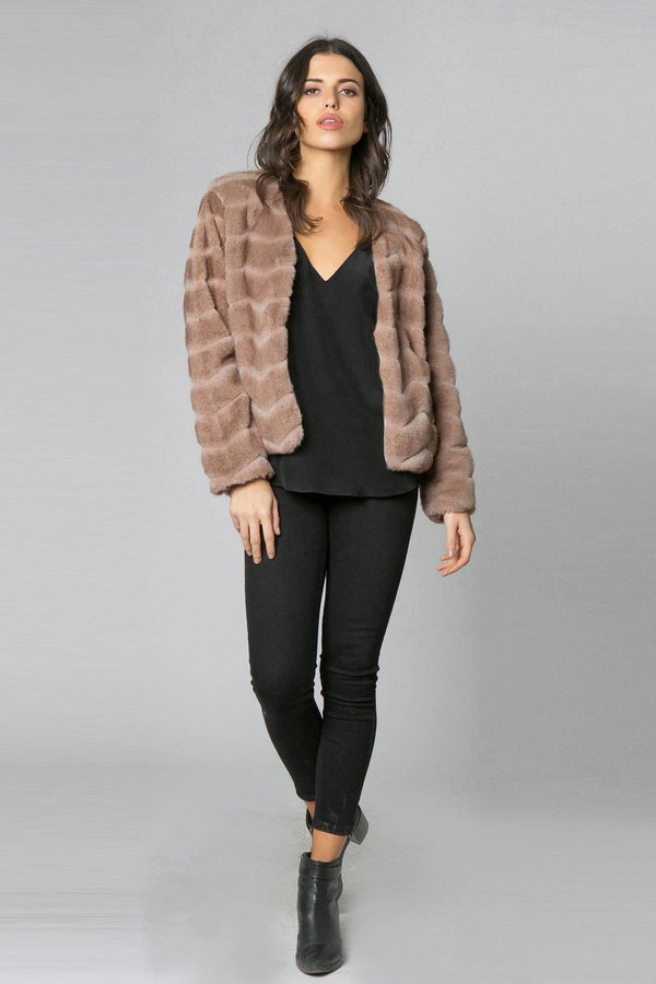 Coco Camel Chevron Fur Jacket - Traveling Chic Boutique, VA