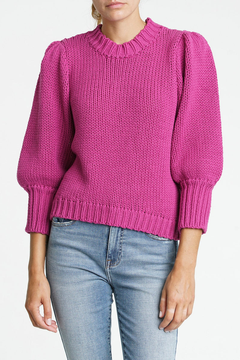 Gabbie 3/4 Puffed Sleeve Sweater - Traveling Chic Boutique, VA