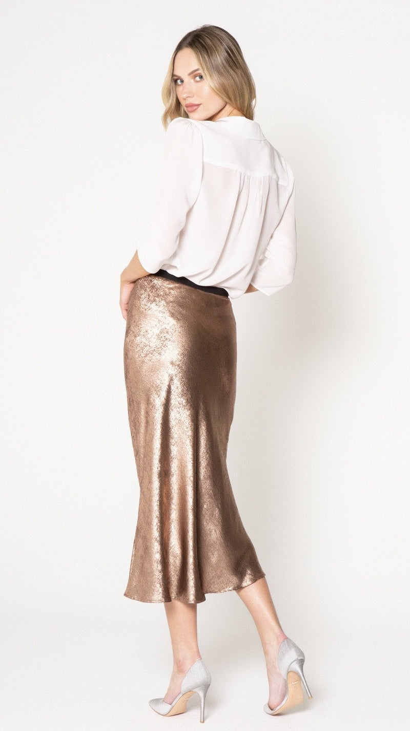 Bronze Midi Skirt - Traveling Chic Boutique, VA
