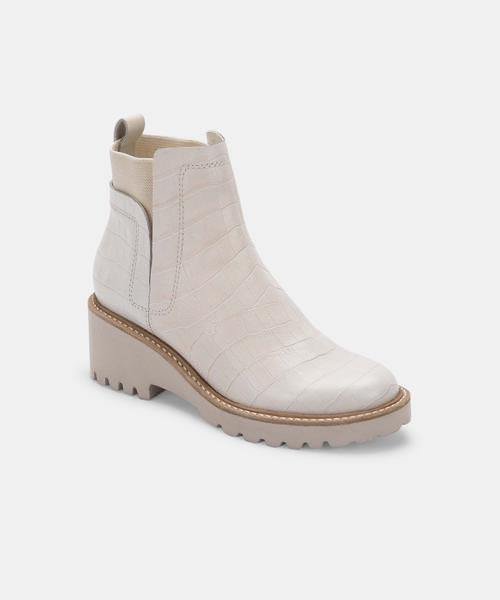 Huey Booties in Ivory Croco - Traveling Chic Boutique, VA