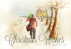 Delivering Christmas- Postie Occassion Card - Rose Hurles Art
