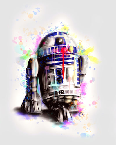 PRE-ORDER FOR EST. 1 WEEK DELIVERY 'R2 the messy Droid' - Fine Art Poster/Fine Art Print - Rose Hurles Art