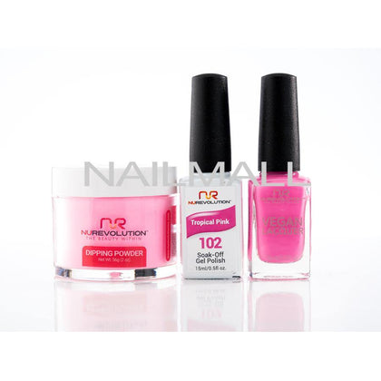Nurevolution Trio - Gel, Lacquer, & Dip Combo - 102 - Tropical Pink