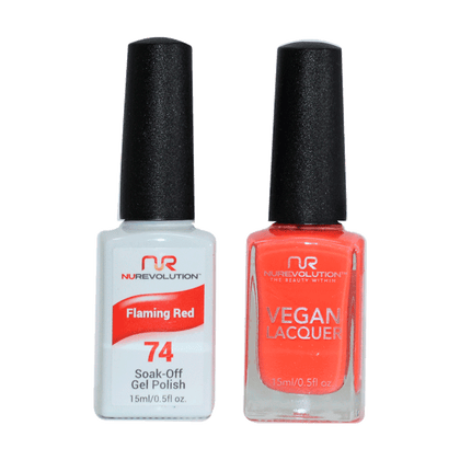 Flaming Red - NR74 - NuRevolution Duo - Gel & Lacquer Set