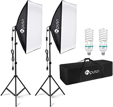 Classier: Buy HPUSN HPUSN Softbox Lighting Kit Professional Studio Photography Continuous Equipment with 85W 5500K E27 Socket Light and 2 Reflectors 50 x 70 cm and 2 Bulbs for Portrait Product Fashion Photography