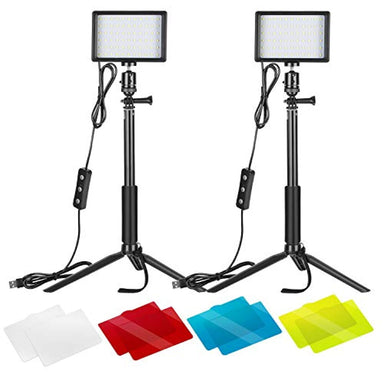 Classier: Buy Neewer Neewer 2 Packs Dimmable 5600K USB LED Video Light with Adjustable Tripod Stand/Color Filters for Tabletop/Low Angle Shooting, Colorful LED Lighting, Product Portrait YouTube Video Photography