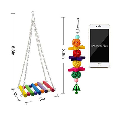 Classier Prime: Buy SHANTU SHANTU 7 Packs Bird Swing Chewing Toys- Parrot Hammock Bell Toys Suitable for Small Parakeets, Cockatiels, Conures, Finches,Budgie,Macaws, Parrots, Love Birds