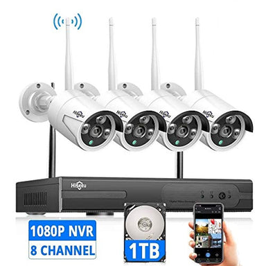 Classier: Buy Hiseeu [Expandable 8CH] Hiseeu Wireless Security Camera System with 1TB Hard Drive with One-Way Audio, 8 Channel NVR 4Pcs 1080P 2.0MP Night Vision WiFi IP Security Surveillance Cameras Home Outdoor