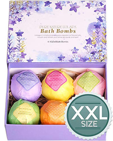 Classier Prime: Buy PURE NATURE LUX SPA LuxSpa Bath Bombs Gift Set - The Best Ultra Natural Bubble Fizzies with Dead Sea Salt Cocoa and Shea Essential Oils, 6 x 4.1 oz, The Best Birthday Gift idea for Her/Him, Wife, Girlfriend, Women.