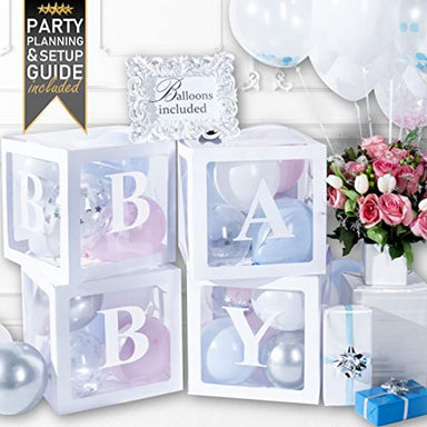 Classier Prime: Buy PRIMEPURE Baby Shower Decorations and Gender Reveal Party Supplies - Premium Pearl White Balloon Boxes for Girl and for Boy with Balloons and Letters Included