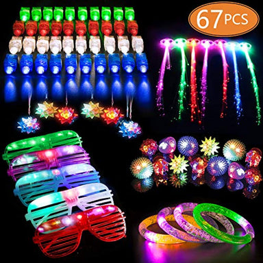 Classier Prime: Buy MIBOTE MIBOTE 67 PCs LED Light Up Toys Party Favors Glow in the Dark Party Supplies for Kid/Adults with 40 Finger Lights, 10 Jelly Rings, 5 Flashing Glasses, 4 Bracelets, 4 Fiber Optic Hair Lights and 4 Crystal Necklaces