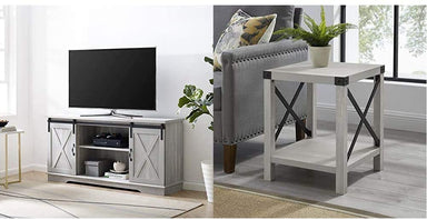 "Classier Prime: Buy Walker Edison Furniture Company Walker Edison WE Furniture TV Stand 58"" White/Rustic Oak, White/Reclaimed Barnwood"