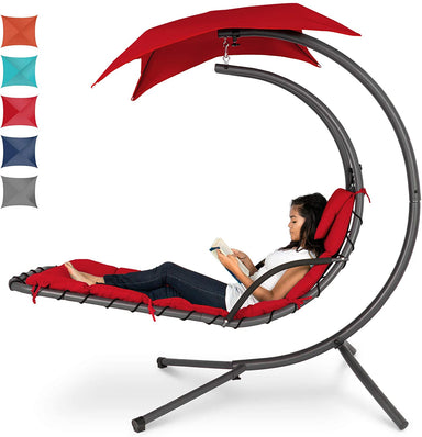 Classier Prime: Buy Best Choice Products Best Choice Products Hanging Curved Chaise Lounge Chair Swing for Backyard, Patio w/Pillow, Canopy, Stand - Red