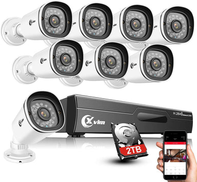 Classier: Buy XVIM XVIM 8CH 1080P Security Camera System Outdoor with 1TB Hard Drive Pre-Install CCTV Recorder 8pcs HD 1920TVL Outdoor Home Security Surveillance Cameras Night Vision Easy Remote Access Motion Alert