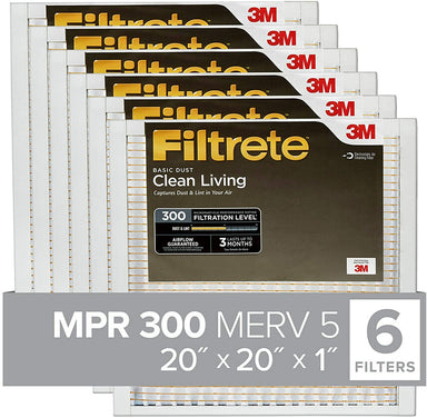Classier Prime: Buy Filtrete Filtrete 20x20x1, AC Furnace Air Filter, MPR 300, Clean Living Basic Dust, 6-Pack (exact dimensions 19.69 x 19.69 x 0.81)