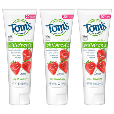 Classier: Buy Tom's of Maine Tom's of Maine Anticavity Fluoride Children's Toothpaste, Kids Toothpaste, Natural Toothpaste, Silly Strawberry, 5.1 Ounce, 3-Pack