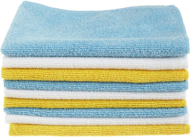 Classier Prime: Buy Basics AmazonBasics Blue, White, and Yellow Microfiber Cleaning Cloth - Pack of 24