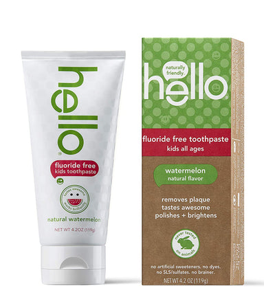 Classier: Buy Hello Oral Care Hello Oral Care Kids Fluoride Free and SLS Free Toothpaste, Natural Watermelon, 4.2 Ounce