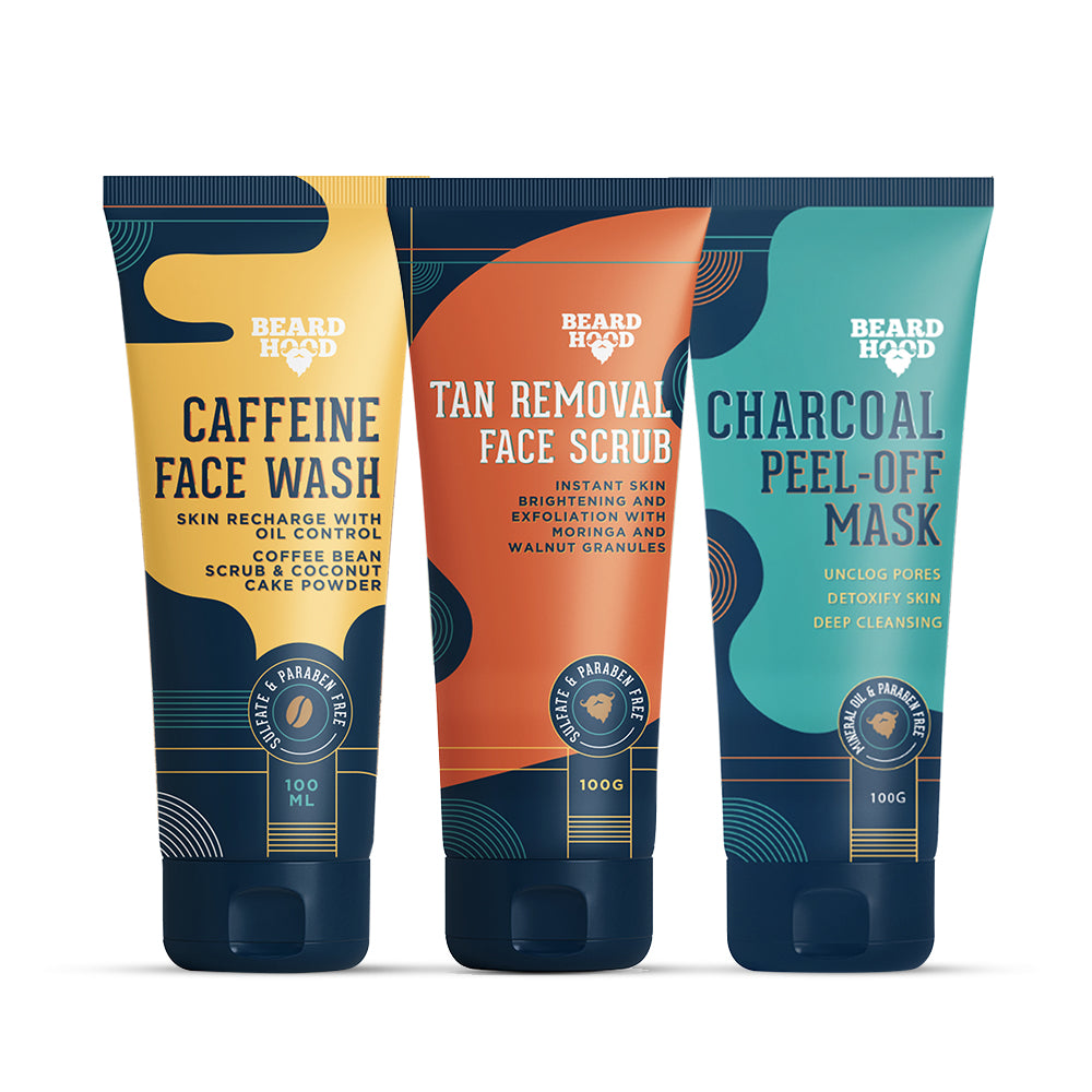 Caffeine Face Wash, Tan Removal Scrub & Charcoal Peel Off Mask Combo