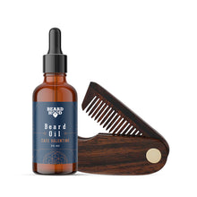 Load image into Gallery viewer, Café Valentino Beard Oil & Folding Beard Comb