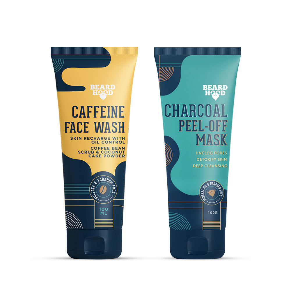 Caffeine Face Wash and Charcoal Peel Off Face Mask Combo