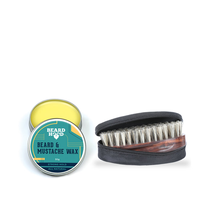 Mustache Wax Strong Hold (30g) & Natural Bristles Beard Brush