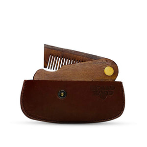 Pocket Folding Wooden Beard Comb with Premium Leather Case
