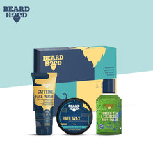 Load image into Gallery viewer, Beardhood Complete Head to Toe Care Kit (Hair Wax, Caffeine Face Wash, Green Tea Body Wash), Diwali Gift Box Pack Of 3