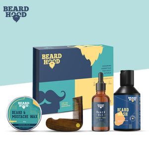 Grooming Kit (Earthy Tones Beard Oil, Wash, Comb, Wax), Gift Box