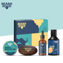 Load image into Gallery viewer, Beardhood Grooming Kit for Complete Beard Care (Subtle Citrus Beard Oil, Beard Wash, Beard Brush,Beard & Mustache Wax), Gift Box For Men Pack Of 4