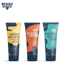 Load image into Gallery viewer, Beardhood Complete Face Care Kit (Tan Removal Scrub, Peel Off Mask, Caffeine Face Wash), Gift Box Pack Of 3