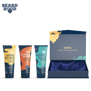 Beardhood Complete Face Care Kit (Tan Removal Scrub, Peel Off Mask, Caffeine Face Wash), Gift Box Pack Of 3
