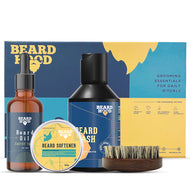 Grooming Kit (Earthy Tones Beard Oil, Wash, Brush, Softener), Gift Box