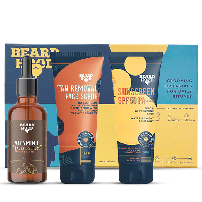 Beardhood Complete Face Care & Sun Protection Kit (Tan Removal Scrub, Vitamin C Serum, Sunscreen), Gift Box Pack Of 3