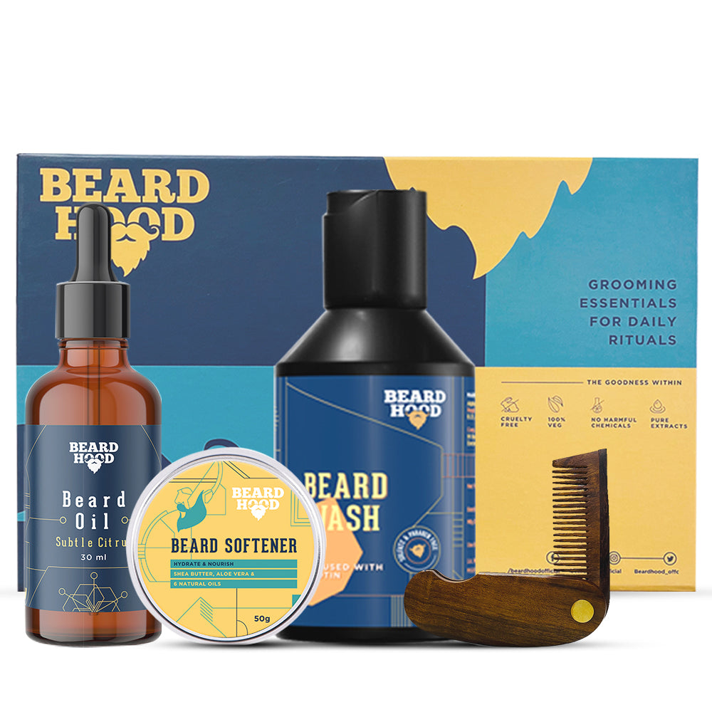 Grooming Kit (Subtle Citrus Beard Oil, Wash, Comb, Softener), Gift Box
