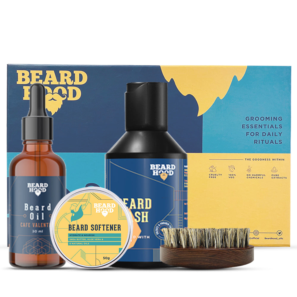 Grooming Kit (Cafe Valentino Beard Oil, Wash, Brush, Softener) Gift Box