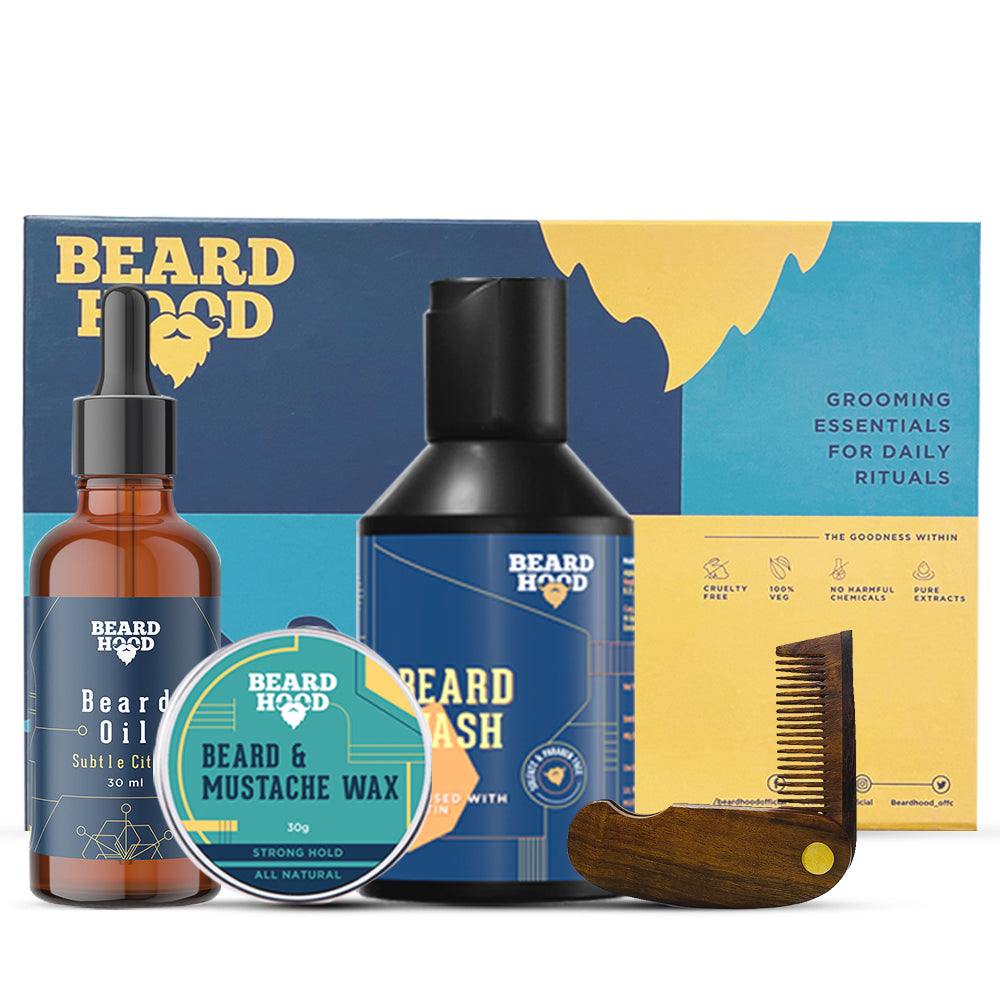 Grooming Kit (Subtle Citrus Beard Oil, Wash, Comb, Wax), Gift Box