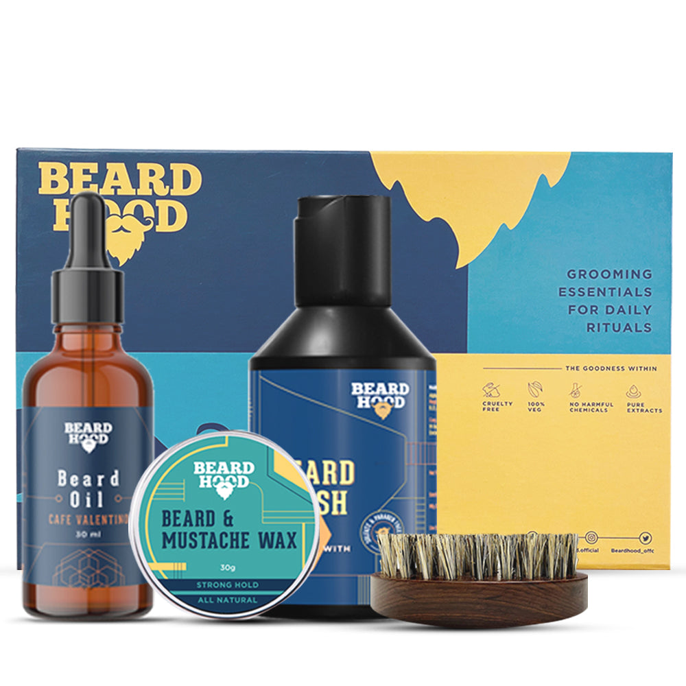 Grooming Kit (Cafe Valentino Beard Oil, Wash, Brush, Wax), Gift Box