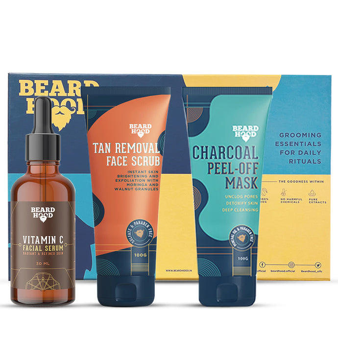Beardhood Complete Face Care Kit (Tan Removal Scrub, Peel Off Mask, Vitamin C Serum), Gift Box Pack Of 3