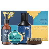 Grooming Kit (Earthy Tones Beard Oil, Wash, Brush, Wax), Gift Box