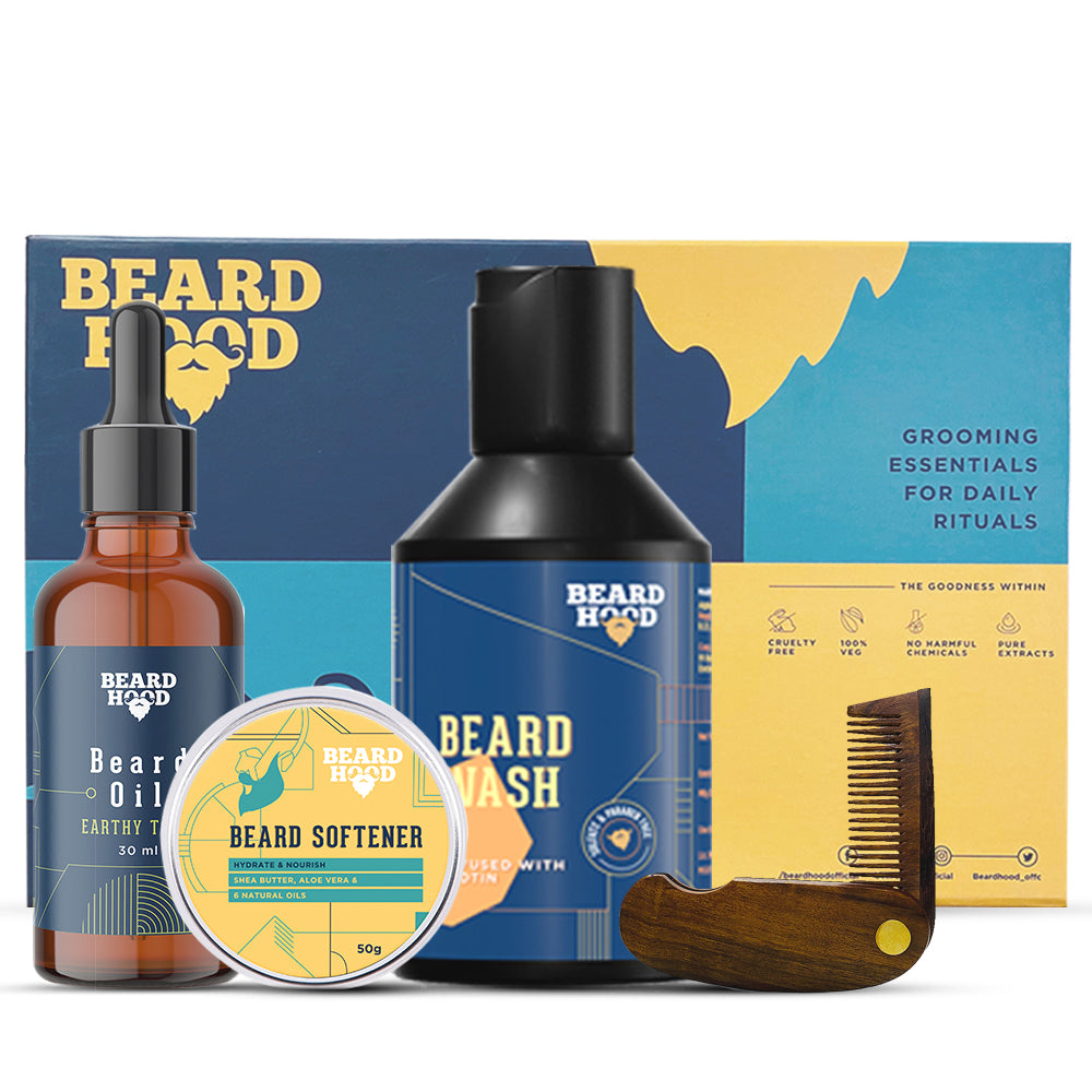 Grooming Kit (Earthy Tones Beard Oil, Wash, Comb, Softener), Gift Box
