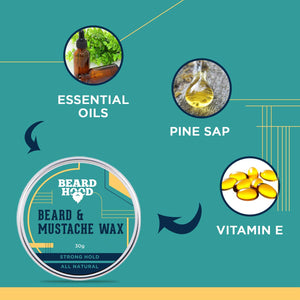 All Natural Mustache And Beard Wax For Strong Hold, 30gm
