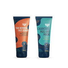 Load image into Gallery viewer, Tan Removal Scrub & Charcoal Peel Off Mask Combo