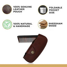 Load image into Gallery viewer, Pocket Folding Wooden Beard Comb with Premium Leather Case